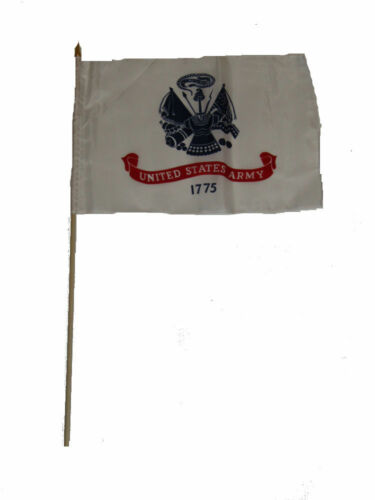 "Army White Stick Flag wood staff 12x18 12/""x18/"" Wholesale Lot of 6 U.S"