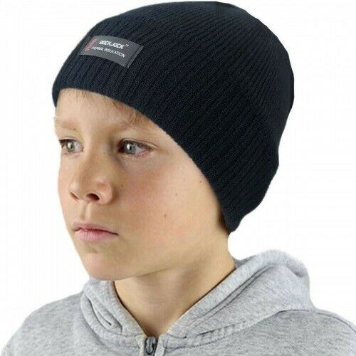 NEW Boys Kids Thermal Insulated Winter Warm Bobble Hat Beanie Ribbed Pom Pom UK