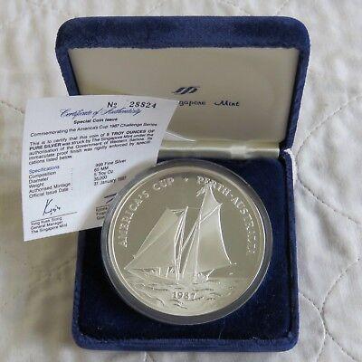 1987 America/'s Cup Perth Australia .999 Silver 5 oz $25 Samoa Coin In Box W// COA