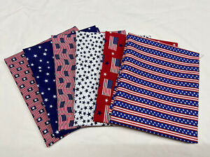 Patriotic-USA-Bundle-Stars-and-Stripes-Cotton-Quilt-Sewing-Fabric