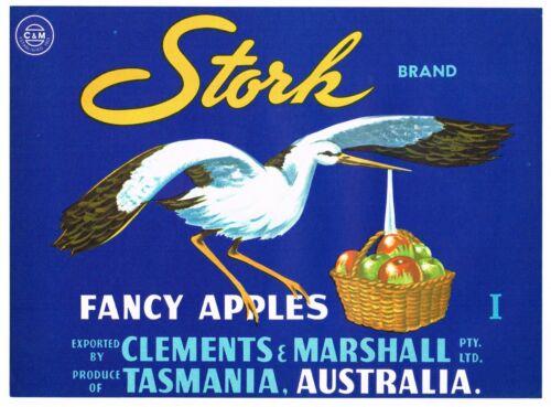 APPLE CRATE LABEL VINTAGE AUSTRALIA STORK TASMANIA CLEMENTS MARSHALL 1950S