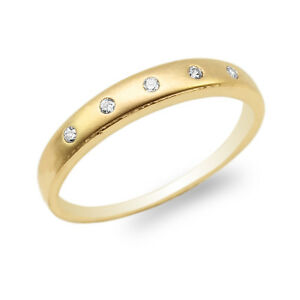 Image Is Loading Las 10k 14k Yellow Gold Round Cz Embedded