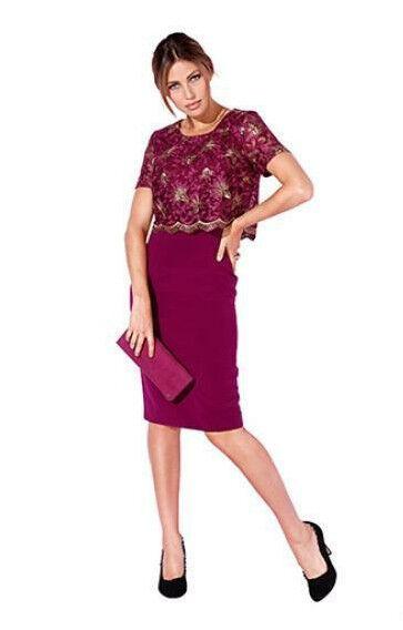 AMY VERMONT Spitzenkleid Damenkleid Gr.44 fuchsia Neu
