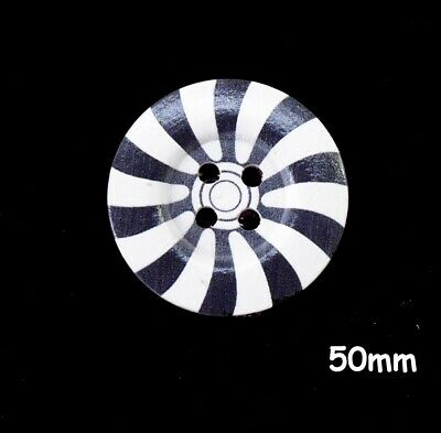 5 Large Wooden Round Black//Grey /& White Flower Buttons 50mm Sewing 1148