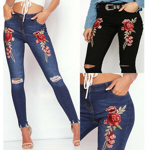 Women-Fashion-Flower-Print-Casual-Pencil-Denim-Long-Jeans-Pants-Trousers-Jeans