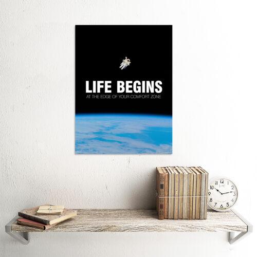 Life Begins Motivational Space Wall Art Print Poster 12X16 /'/' HP4183