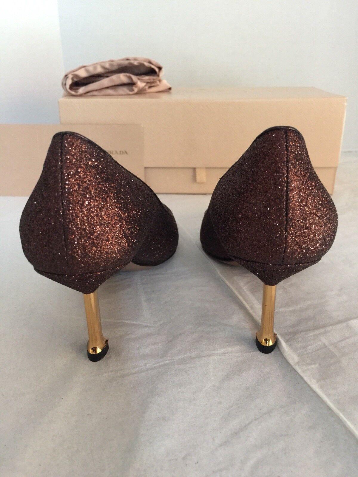 Prada damen damen damen Glitterot Leather Heels, braun, 34.5 f4e1aa