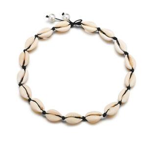 Natural-Cowrie-Sea-Shell-Choker-Necklace-Boho-Surfer-Beach-Tribal-Puka-Jewelry