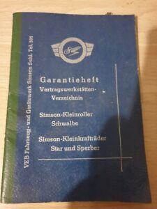 Garantieheft-Simson-Suhl-Sperber-Schwalbe-Star