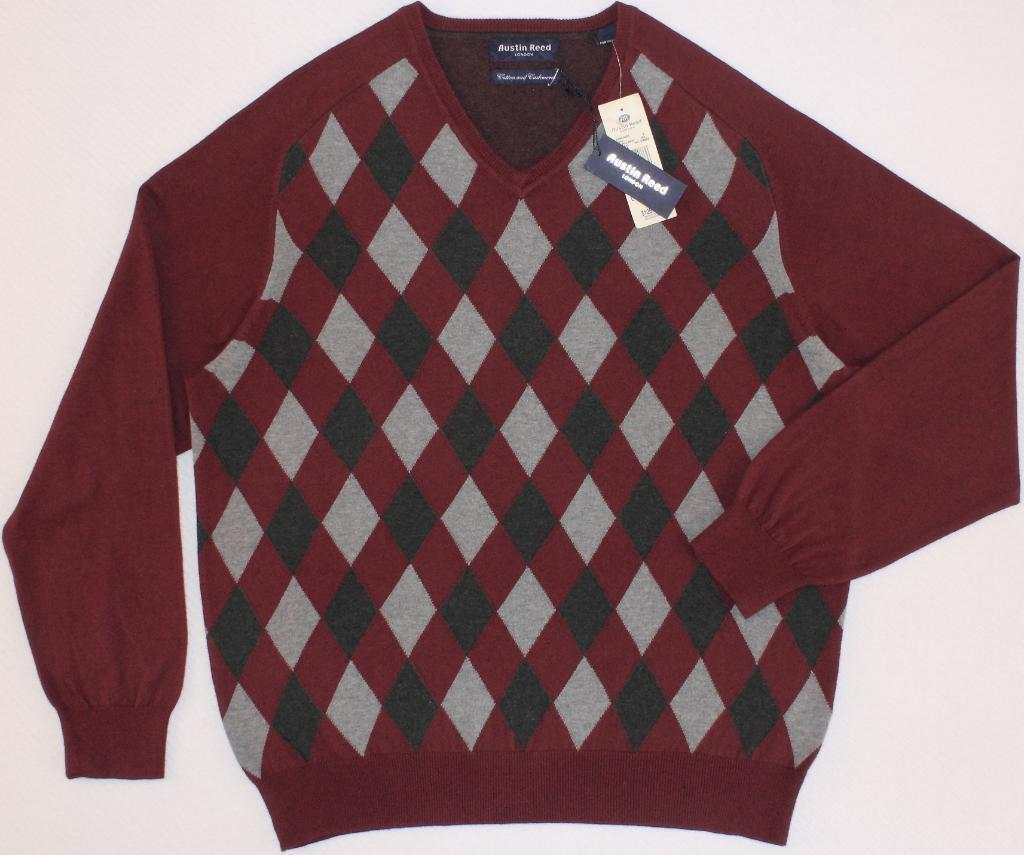 Men S Austin Reed Cotton Cashmere Argyle V Neck Sweater Large L For Sale Online Ebay