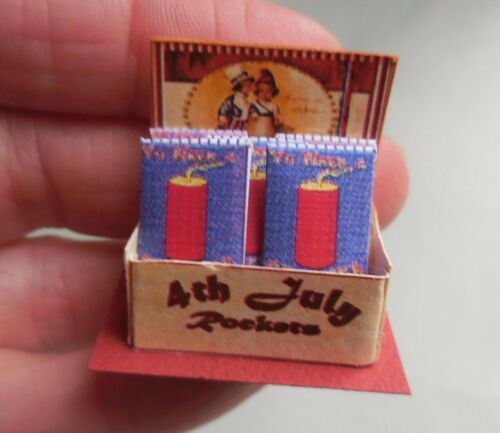 DOLLHOUSE MINIATURE 4TH OF JULY FIREWORKS COUNTER DISPLAY LORRAINE SCUDERI