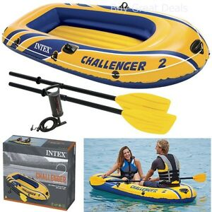 2-Person-Small-Inflatable-Boat-Set-Rubber-Raft-Boating-Float-Dinghy-Oars-Air-NEW