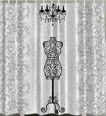 Dress Form SHOWER CURTAIN Fabric Bathroom Decor Vintage Iron Stand Black White