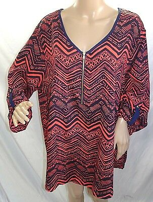 TACERA WOMEN PLUS SIZE 1X 2X 3X CHEVRON FUCHSIA BLACK TUNIC TOP BLOUSE SHIRT