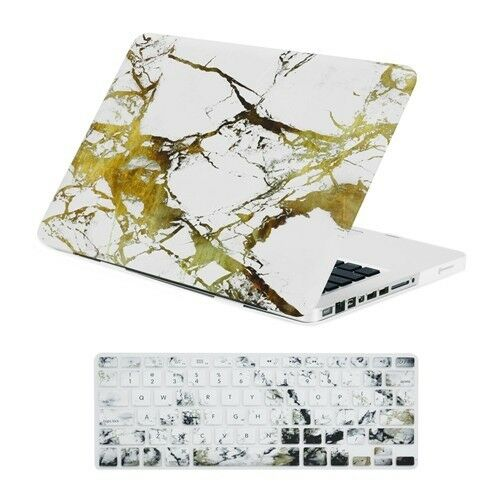 """Keyboard Cover for Macbook Pro 13/"""" Model A1278 White//Gold Marble Matte Case"""