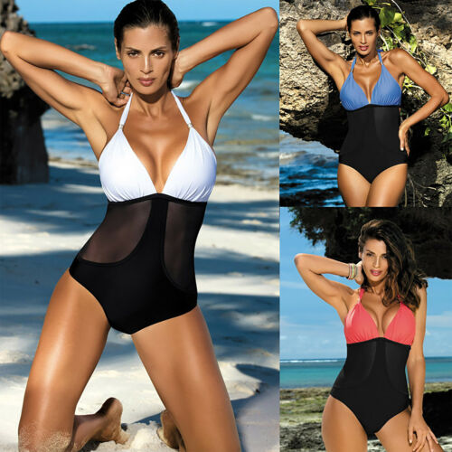 Womens Swim Costume Padded Monokini Bikini Swimsuit Backless Lace Mesh Beachwear