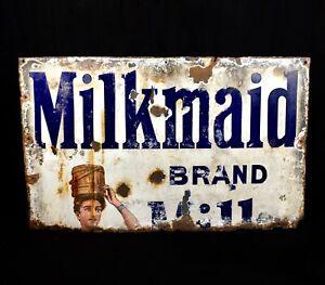 Antique Advertising - Large Enamel Pictorial Sign For Milkmaid Milk / Food Drink