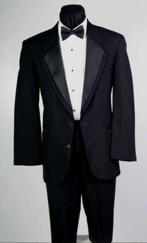 42 L Oscar de la Renta Black Tuxedo Coat Pant Shirt Vest Bow tie Complete Tux