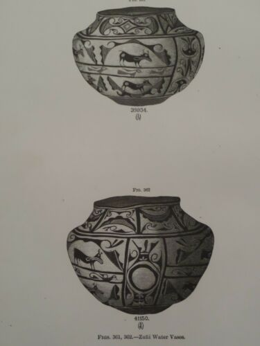 Zuni Pueblo Indian Pottery Tinajas Water Vase New Mexico 1883 lithograph Print 2