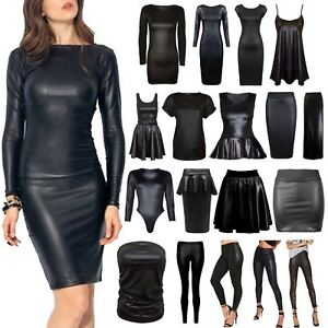 WOMENS-LADIES-WET-LOOK-LONG-SLEEVE-PVC-LEATHER-DRESS-BODYCON-TUNIC-TOP-AND-SKIRT