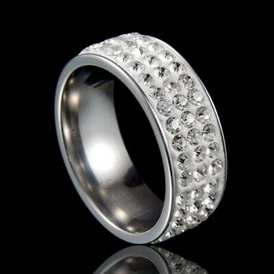 Fashion Men//Women/'s Crystal Stainless Steel Ring Wedding Band Gold//Silver//Black