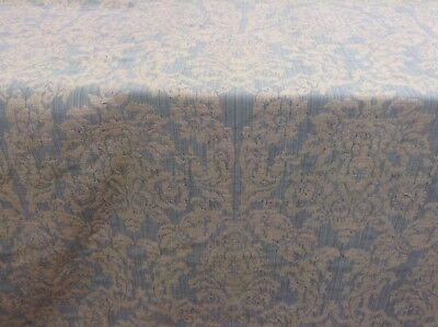 French Vintage Bliss Raised Damask Ash Grey Linen 140 Wide Curtain Fabric