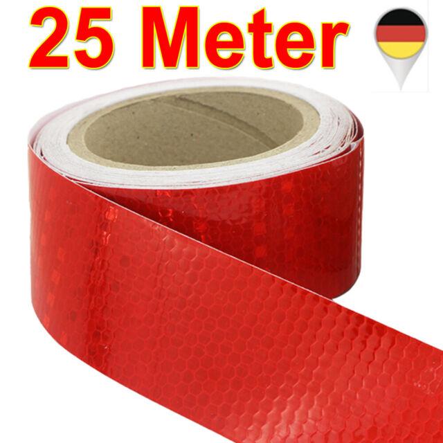 Reflektorfolie Rot Reflektorband Warnung Selbstklebend Warnaufkleber 50mm x 25M