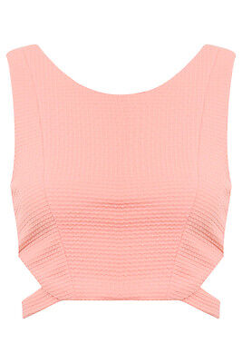 Vera & Lucy Pink Cut Out Crop Top - BNWT! Size S (UK 8) (FS186)