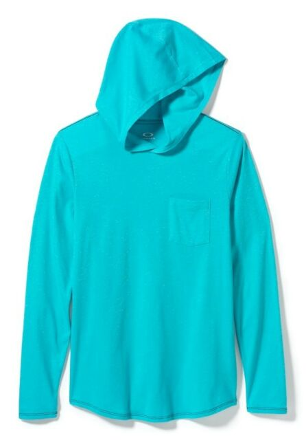 075f5e4f Men's Oakley Hooded Tri T Tee L/s Shirt Hoodie Blue Coral Size Small ...
