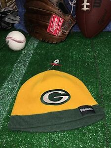 Green Bay Packers Cap Hat Beanie Reebok One Size Youth 8 to 20 NWOT ... c8402275e