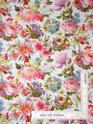 Elizabeth/'s Studio Hummingbirds flowers on blue 100/% cotton Fabric by the yard