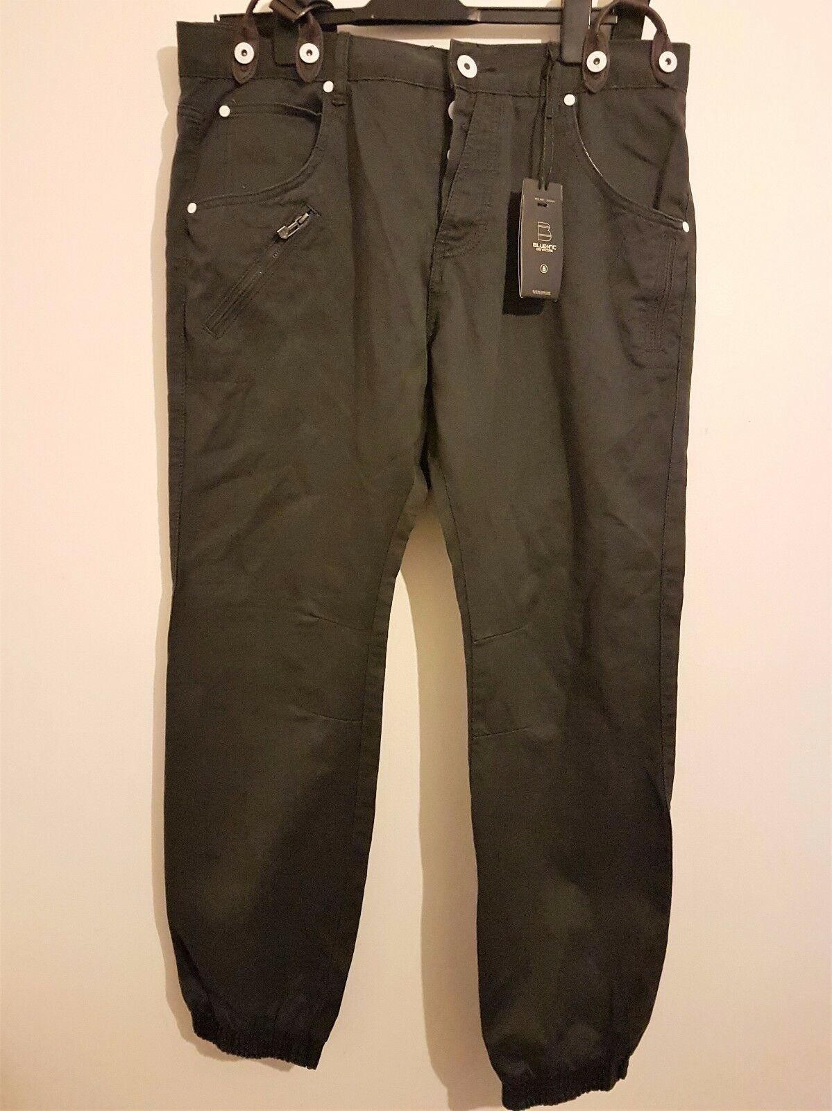 blueE INC Dark Grey Denim Cargo Casual Trousers (W38, L30)