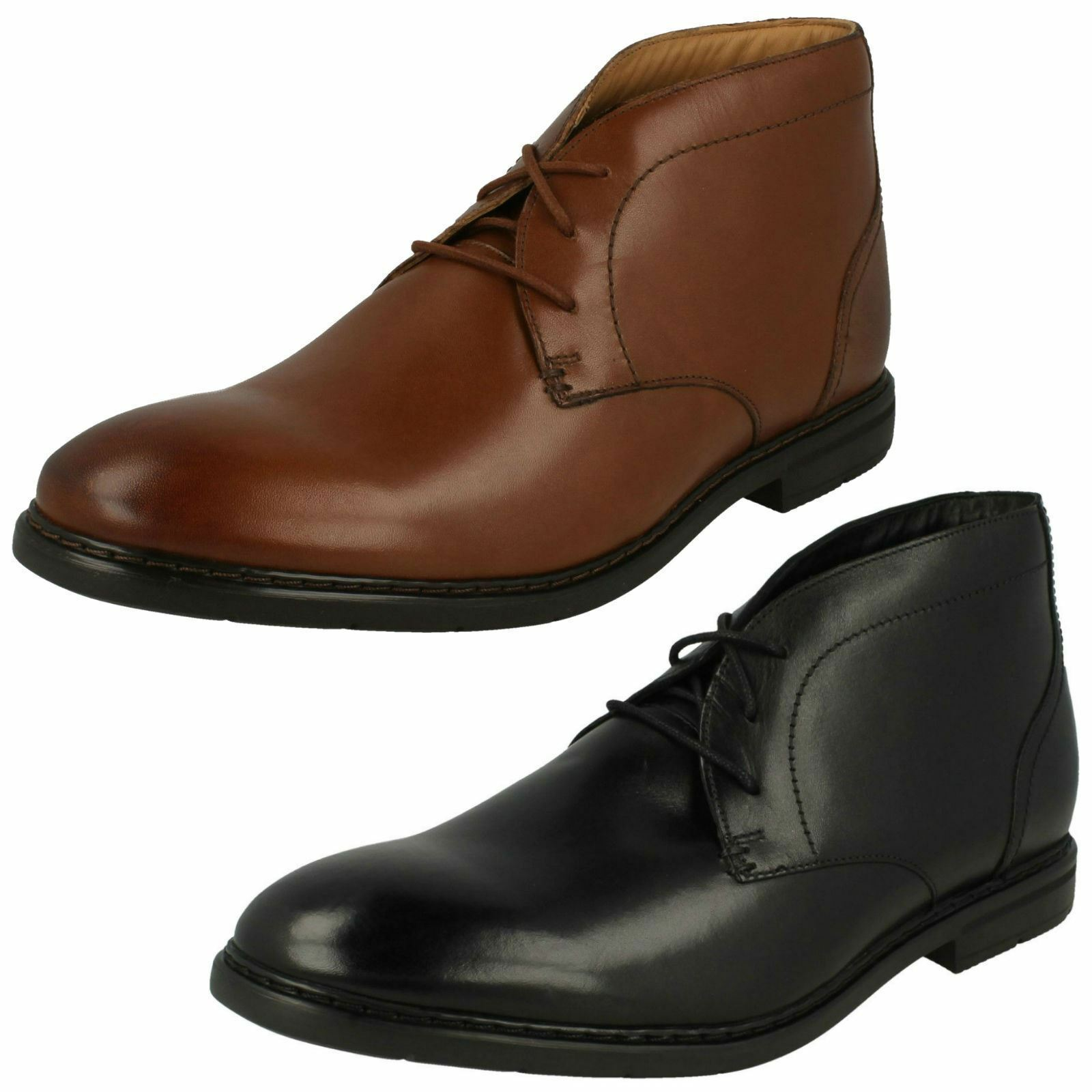 Mens Clarks Banbury Mid British Tan Or Black Leather Smart Lace Up Boots
