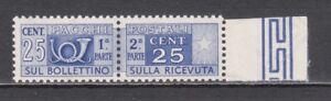 ITALIA-1947-Pacchi-Postali-Centesimi-25-ruota-SPL-Bordo-di-Foglio