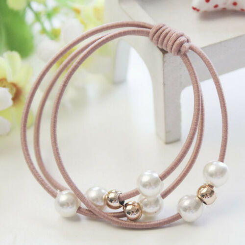 5PCS Multi Layer Hair Ties Hair Band Faux Pearl Hair Ring Rope Ponytail Holder