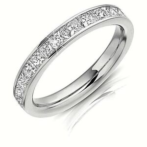 1-Ct-Princess-Cut-Eternity-Diamond-Women-039-s-Engagement-Titanium-Wedding-Band-Ring