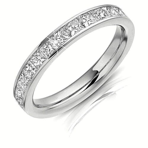 1 Ct Princess Cut Eternity Diamond Women's Engagement Titanium Wedding Band Ring