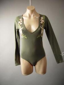 Olive-Green-Floral-Embroidery-Earthy-V-Neck-Shirt-Leotard-249-mv-Bodysuit-S-M-L