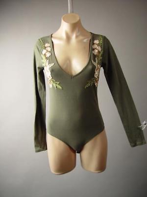 Olive Green Floral Embroidery Earthy V-Neck Shirt Leotard 249 mv Bodysuit S M L