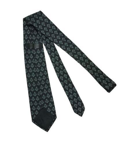 Masonic Regalia Black Craft Masons Silk Tie with Square Compass /& Green G