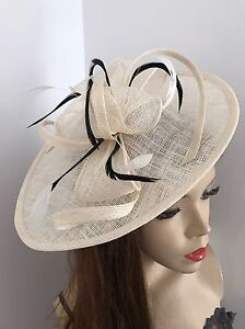 Image is loading Cream-Ivory-Black-Hatinator-Fascinator-Saucer-Hat-Formal- 166db3201b5