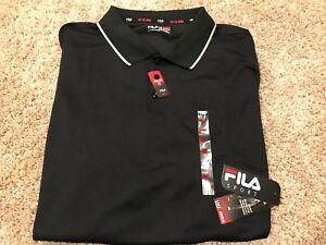 48c26b14e NWT Mens FILA Performance Golf Polo Shirt Big   Tall Black 4XB MSRP ...