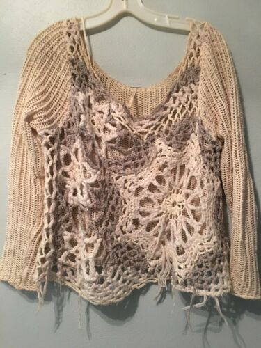 198 Free Se Gennem Off People M Shoulder Ribbed Fringe Elfenben Sweater Retail Grå f7Hfn