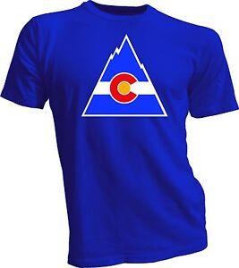 Colorado-Rockies-Defunct-NHL-Old-Time-Hockey-T-Shirt-New-blue-tee-full-logo