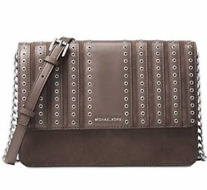 0550d4d176f6 NEW IN WRAP MICHAEL KORS BROOKLYN GROMMET LARGE CROSSBODY SUEDE ...
