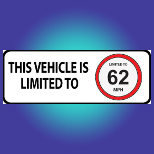 RESTRICTED TO 62 MPH Vehicle Speed Restriction Bumper Sticker Vinyl Car Van D018