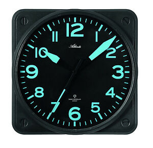 funkwanduhr flieger piloten flugzeug cockpit leise schwarz funk wanduhr 4381 7 ebay. Black Bedroom Furniture Sets. Home Design Ideas