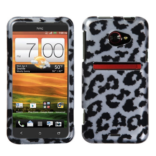 For HTC EVO 4G LTE HARD Protector Case Snap On Phone Cover Silver Leopard