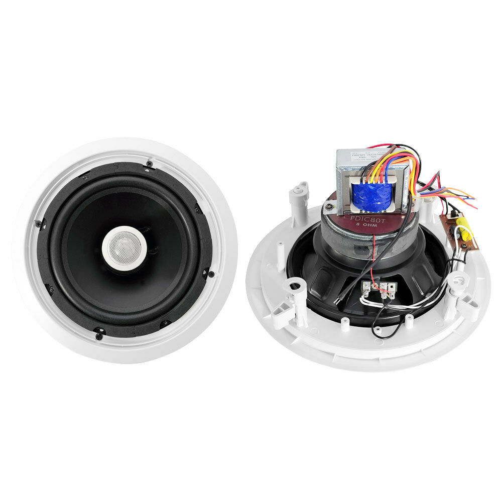 NEW PyleHome PDIC80T 8'' Two-Way In-Ceiling Speakers w 70V Transformer