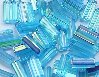 50 BLUE LUMI 10x4mm Atlas Tube  loose Czech glass beads